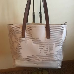 Fossil Leather Madison Coconut Tote Bag Purse